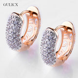 ROUND CRYSTAL EARRINGS/GOLD PLATINUM PLATED HOOP / CZ STONE CUBIC ZIRCONIA  VINTAGE JEWELRY.