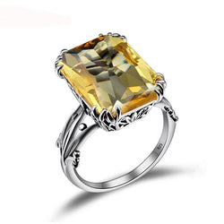 Boho Vintage Citrine Crown Pure 925 Sterling Silver ladies Ring