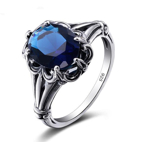 Anillos De Plata Charm Skyrim Real Solid 925 Sterling Silver Vintage Sapphire Ring