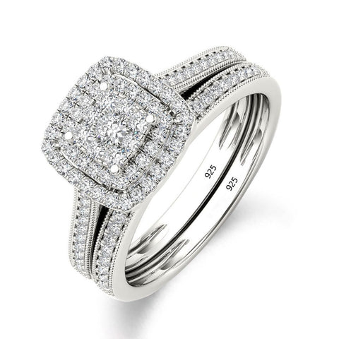 Luxury Brand 925 Sterling Silver Bridal Set Ring for ladies with Paved Micro Lab Diamond Platinum Color