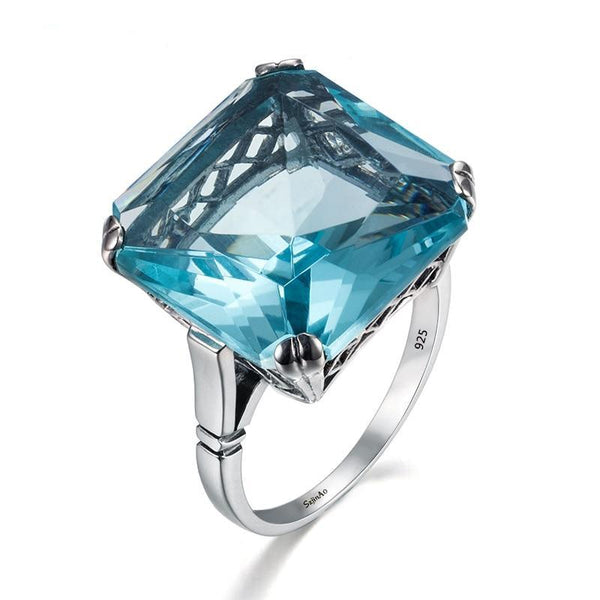 High quality Vintage Solid 925 Sterling Silver Rings for ladies Square Blue Big Aquamarine