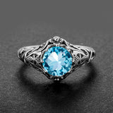 High Quality 2.1ct Aquamarine 925 Sterling Silver Rings for Women Vintage Luxury Brand