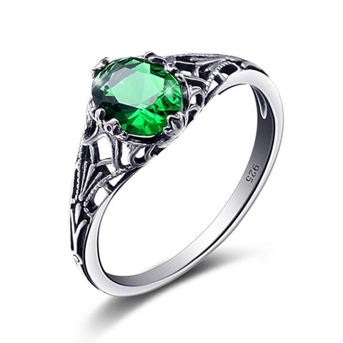 Bulgaria Jewelry Emerald Vintage Charms 925 Sterling Silver Ring for ladies