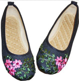 Vintage Embroidered/ Flower Slip On /Cotton Fabric/ Linen Comfortable Old Peking Ballerina Flat Shoes