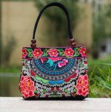 Ladies Handbag National Ethnic Canvas Totes Wood Beads Double Layered Travel/ Shoulder Bag