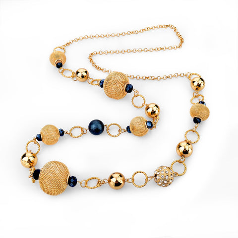 VINTAGE SILVER GOLD CHAIN NECKLACE/ UNIQUE BILOUX COLLIERS YELLOW BLUE CRYSTAL BEADS LONG NECKLACE.