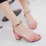 metal String Bead Summer ladies Sandals Open Toe Square heel, Korean Style Gladiator