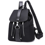 Backpack School Bags For Teenager Girls Nylon Zipper Lock Design Black