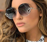 2019 Luxury Ladies Rhinestone Sunglasses Women Italy Brand Designer Rimless Round Big Sun Glasses Men Oculos De Sol Feminino