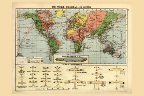 Air Routes Map 1920 Poster 24in x36in