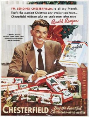Reagan Ronald Chesterfield Cigarettes Ad poster tin sign Wall Art