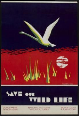 Save Our Wild Life 1930 Photo Sign 8in x 12in
