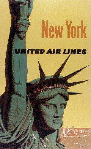 Travel Agency Art New York United Air Lines Art poster tin sign Wall Art
