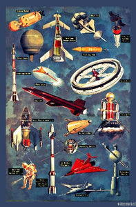 Vintage Spaceships Mini Poster 11X17