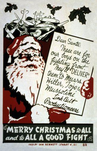 Wwii War Propaganda Merry Christmas poster tin sign Wall Art