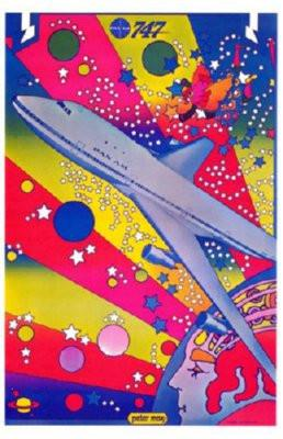 Pan Am Airplane Peter Max Art poster tin sign Wall Art