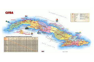 Cuba Tourist Map Poster 24in x36in