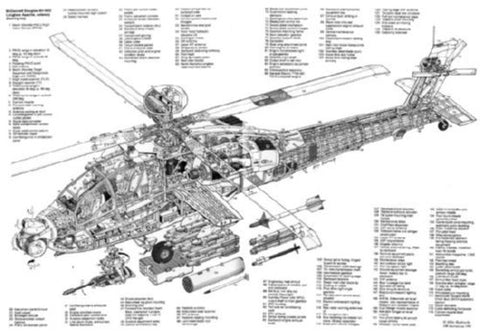 Ah64 Longbow Helicopter Cutaway Poster 24inx36in