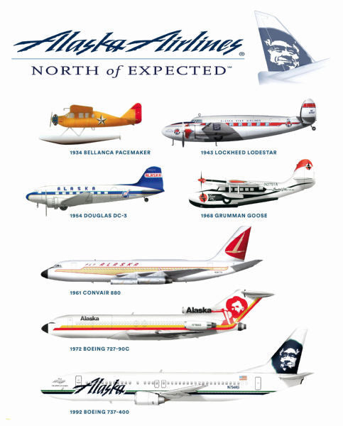 Aviation and Transportation Posters, alaska airlines aircraft history chart