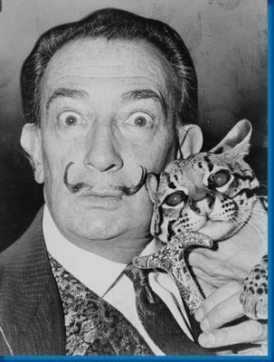 Salvador Dali Cat Bw poster tin sign Wall Art
