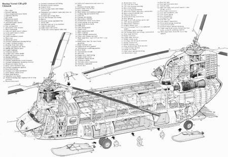 Chinook Helicopter Cutaway Poster Line Art 24x36 - Fame Collectibles