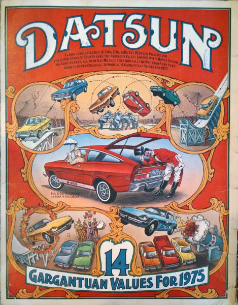Aviation and Transportation Posters, datsun circus ad 1975 replica
