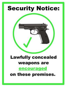 Concealed Carry Weapons Allowed Sign Poster 24inx36in Poster