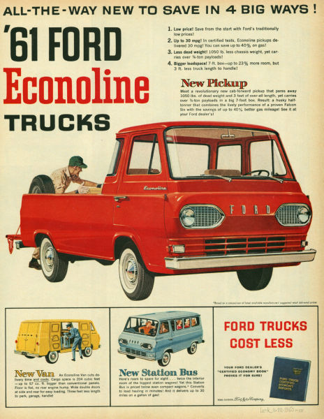 Aviation and Transportation Posters, ford econoline 1961 ad