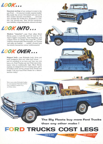 Aviation and Transportation Posters, ford truck ad 1957
