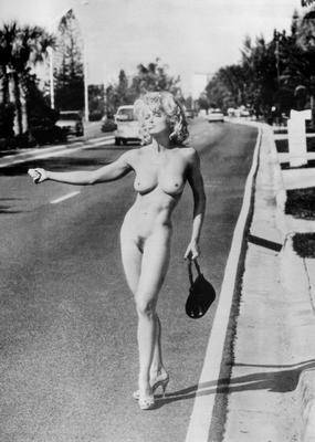 Madonna Hitchhiker Nude poster tin sign Wall Art