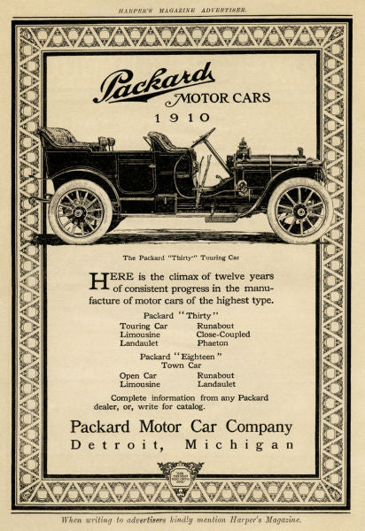 Aviation and Transportation Posters, packard ad