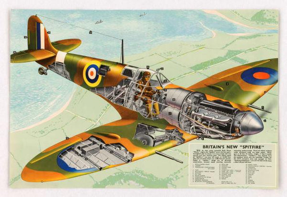 Aviation and Transportation Posters, spitfire cutaway aviation diagram