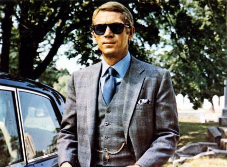 Steve Mcqueen Gray Suit poster tin sign Wall Art