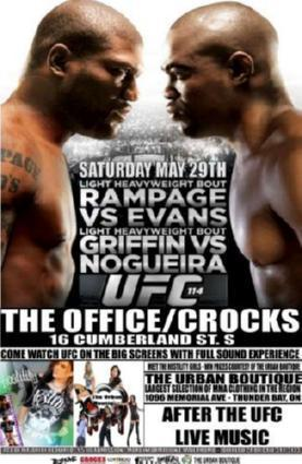Ufc 114 Rampage Vs Evans poster tin sign Wall Art