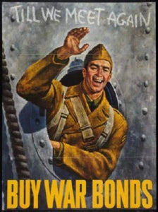 War Propaganda Soldier Waving War Bonds poster tin sign Wall Art