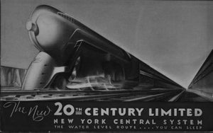 "Railroad 20Th Century Limited Railway Poster Black and White Mini Poster 11""x17"""