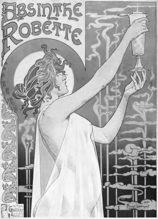 Absinthe Robette Poster Black and White Mini Poster 11