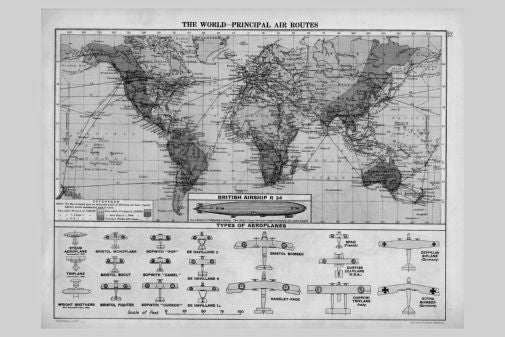 Air Routes Map 1920 Poster Black and White Mini Poster 11