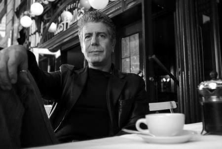 Anthony Bourdain black and white poster