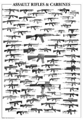 Assault Rifles Poster Black and White Poster 16