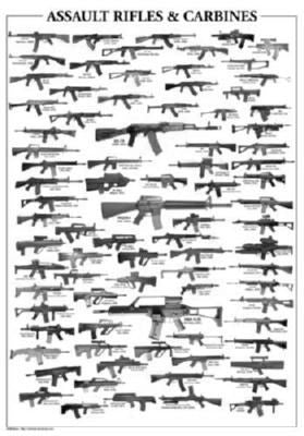 Assault Rifles black and white poster