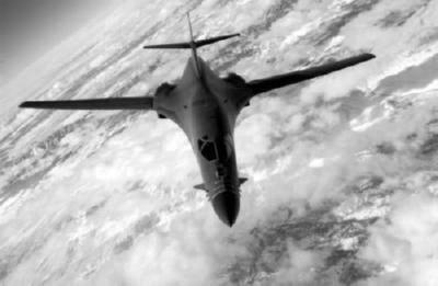 B1 Bomber In Flight black and white poster