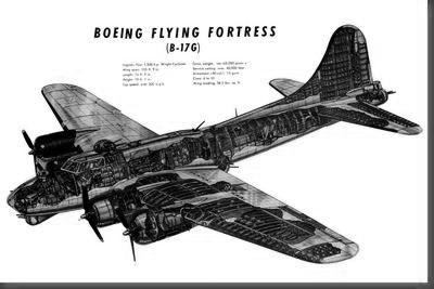 B17G Cutaway poster tin sign Wall Art