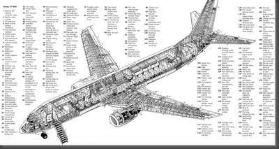 Boeing 737 Cutaway black and white poster