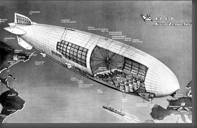 Graf Zeppelin Cutaway black and white poster