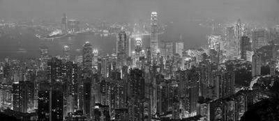 Hong Kong Skyline black and white poster