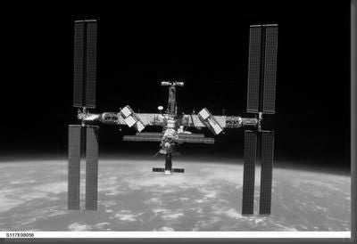 International Space Station black and white poster
