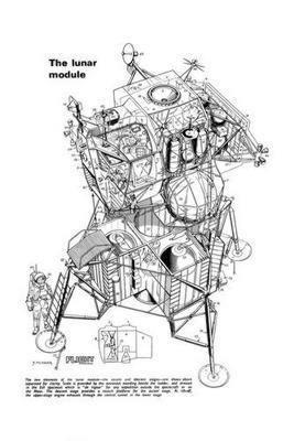 Lunar Module Cutaway black and white poster