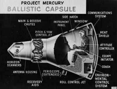 Project Mercury Cutaway Poster Black and White Mini Poster 11