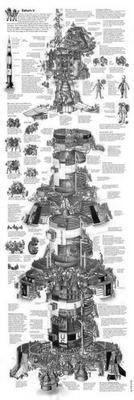 Saturn 5 Cutaway black and white poster